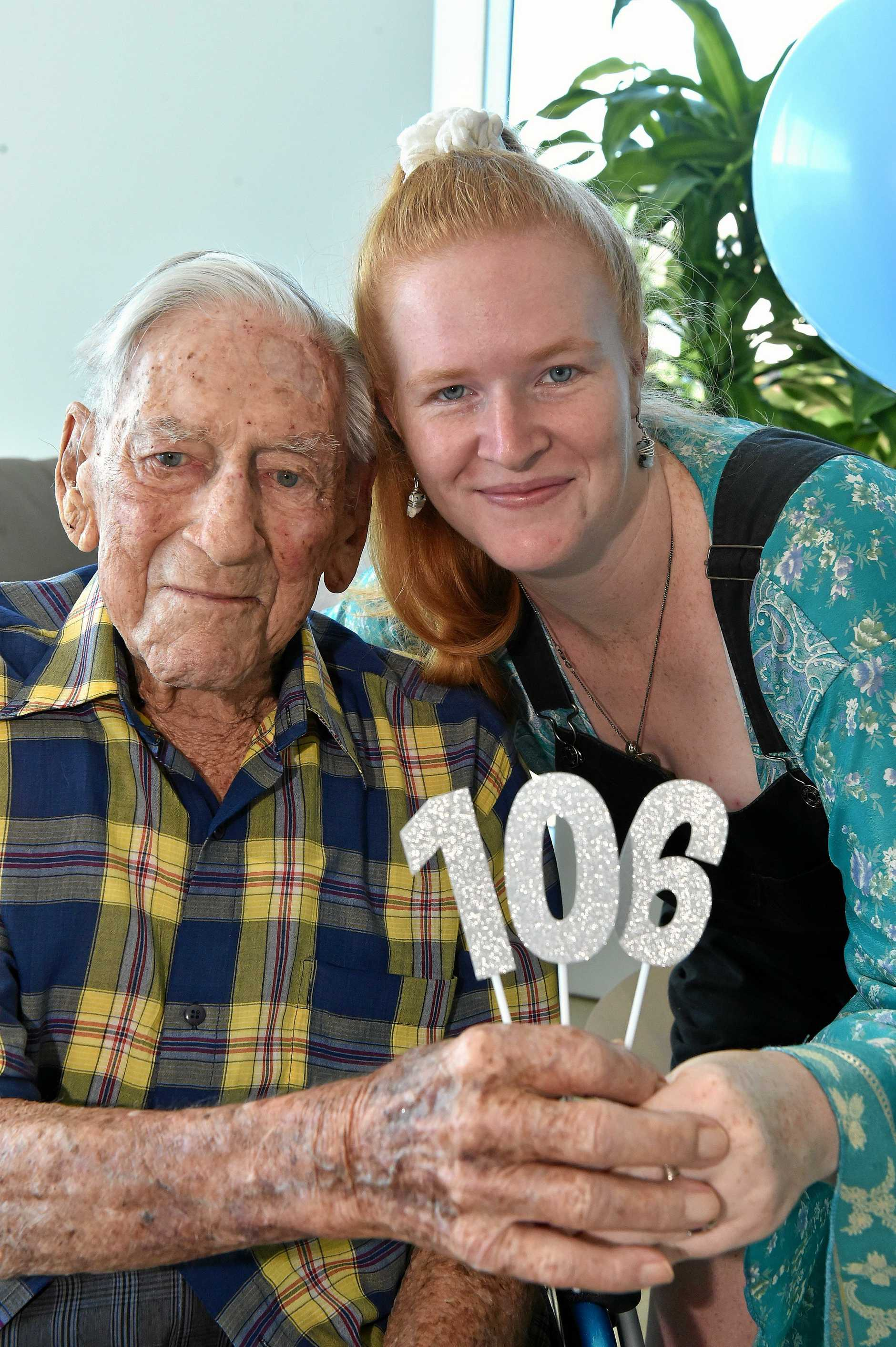 CELEBRATION: Doyne Coutts celebrates his 106th birthday with family and friends at TriCare Kawana Waters Aged Care Residence. Doyne is pictured with his grand daughter Brooke Vanachteren.