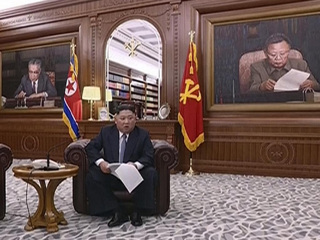 North Korean leader Kim Jong-un delivers a speech in North Korea. Picture: AP