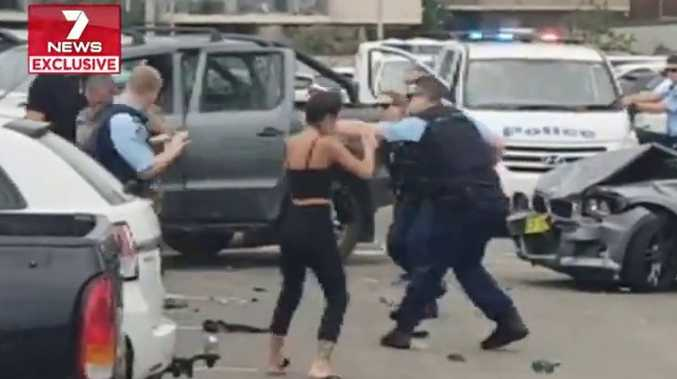 A policeman was repeatedly punched during the melee Source: 7 News