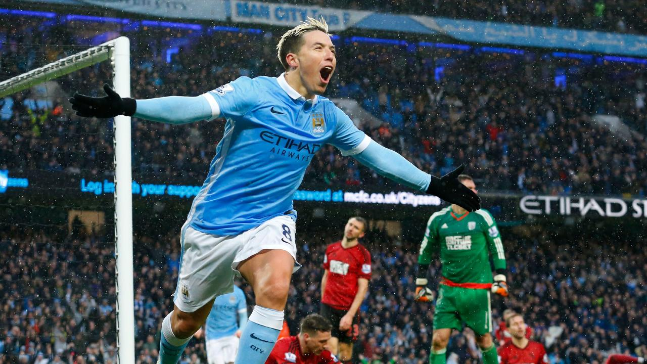 Samir Nasri celebrates a goal for Manchester City in 2016.