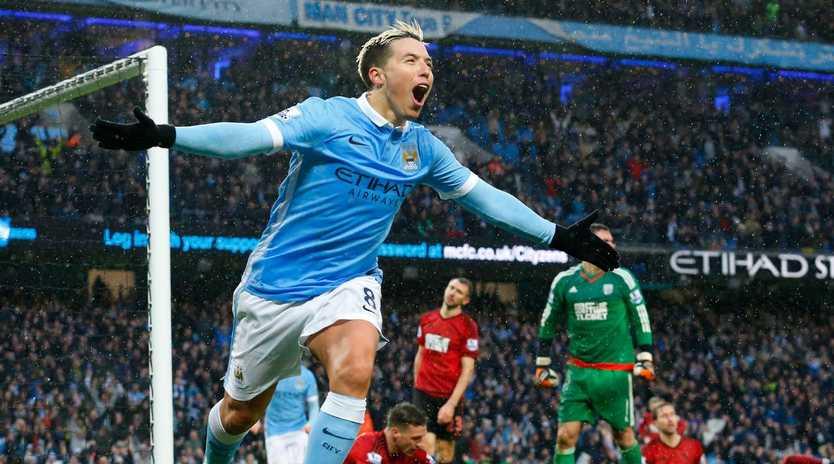 Samir Nasri celebrates a goal for Manchester City in 2016.