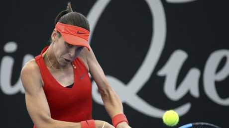 Ajla Tomljanovic in action against Katerina Siniakova of the Czech Republic. Picture: AP Photo/Tertius Pickard