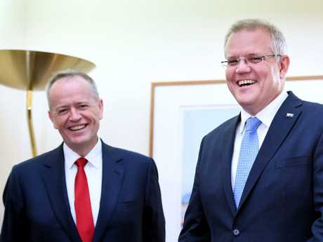 Prime Minister Scott Morrison with the Opposition Leader Bill Shorten. Picture: AAP