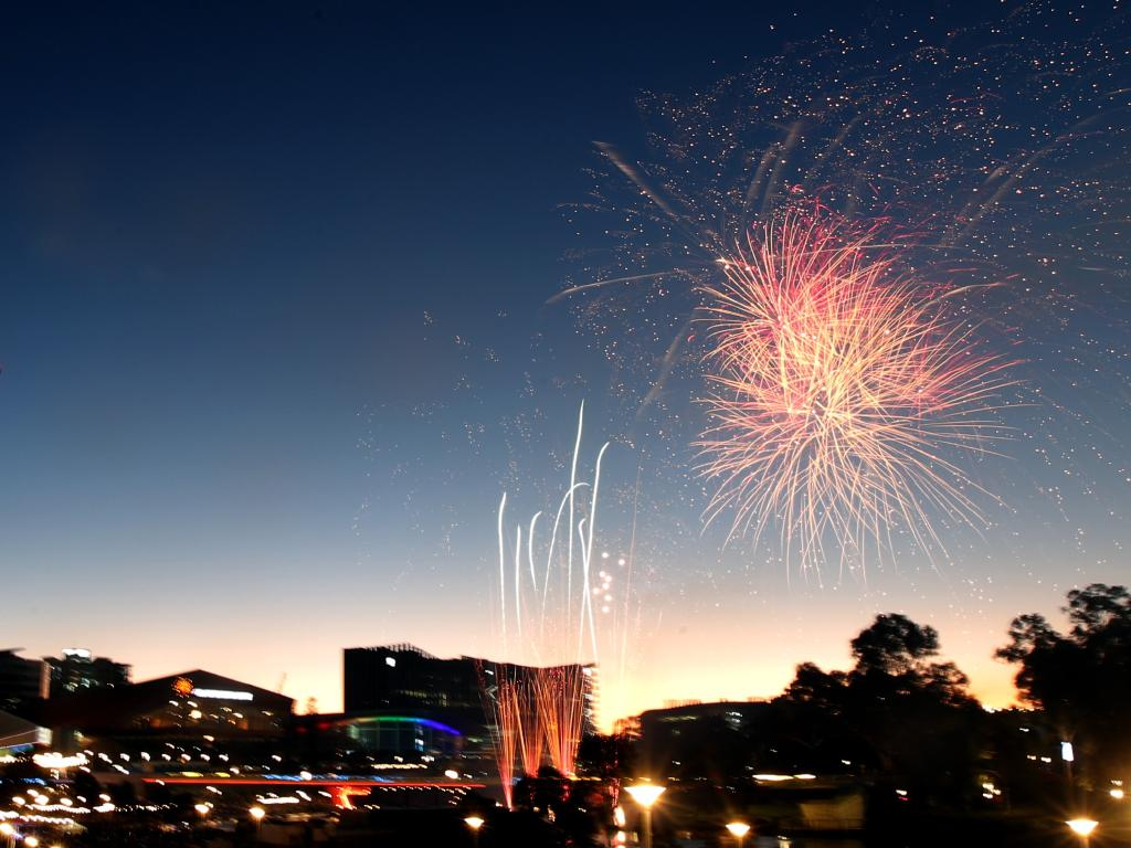 Fireworks are seen over Elder Park during New Year's Eve celebrations in Adelaide. Picture: AAP