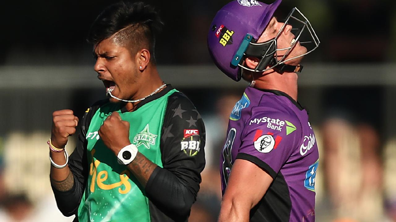 Sandeep Lamichhane celebrates taking the wicket of Ben McDermott last month. Picture: Getty Images