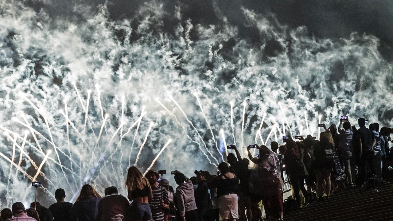 Thousands watched the spectacular display. Picture: Brook Mitchell/Getty