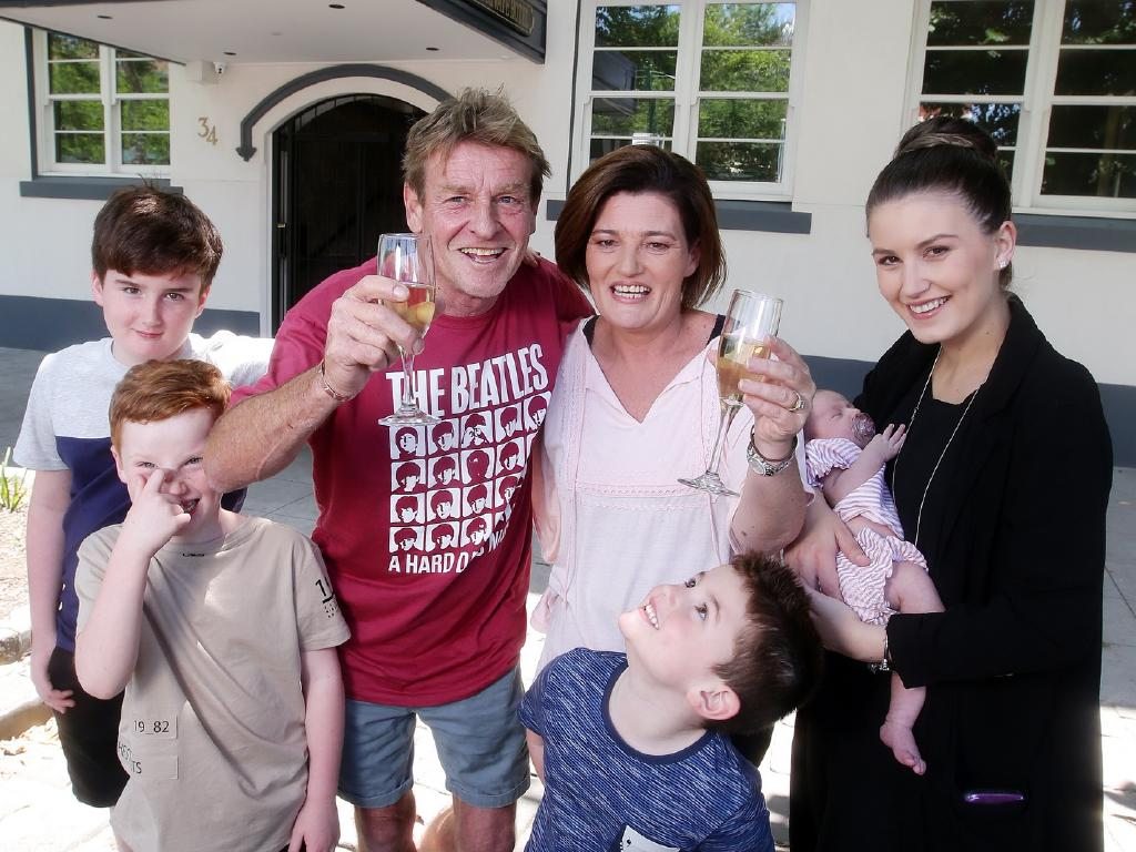 Winner Samantha Bolton and her family outside their new Gatwick apartment in St Kilda in Melbourne. Picture: Andrew Tauber