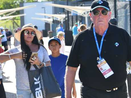 Schapelle Corby with John McLeod on day one of the Brisbane International. Picture: Darren England/AAP