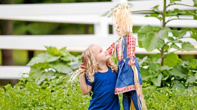 Recycled household items can be used to build a scarecrow with the kids.