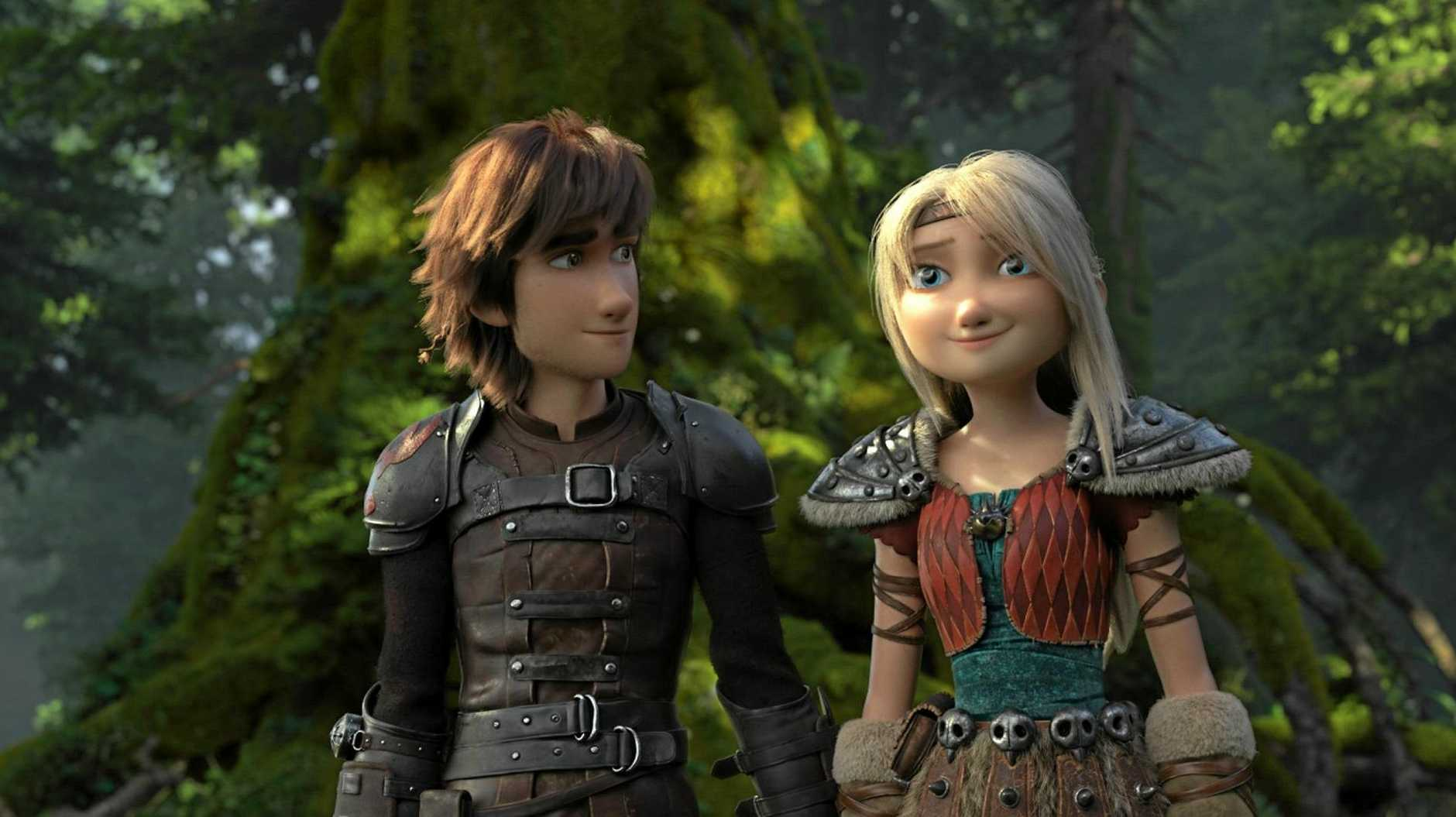 Hiccup and Astrid in scene from the movie How To Train Your Dragon: The Hidden World.