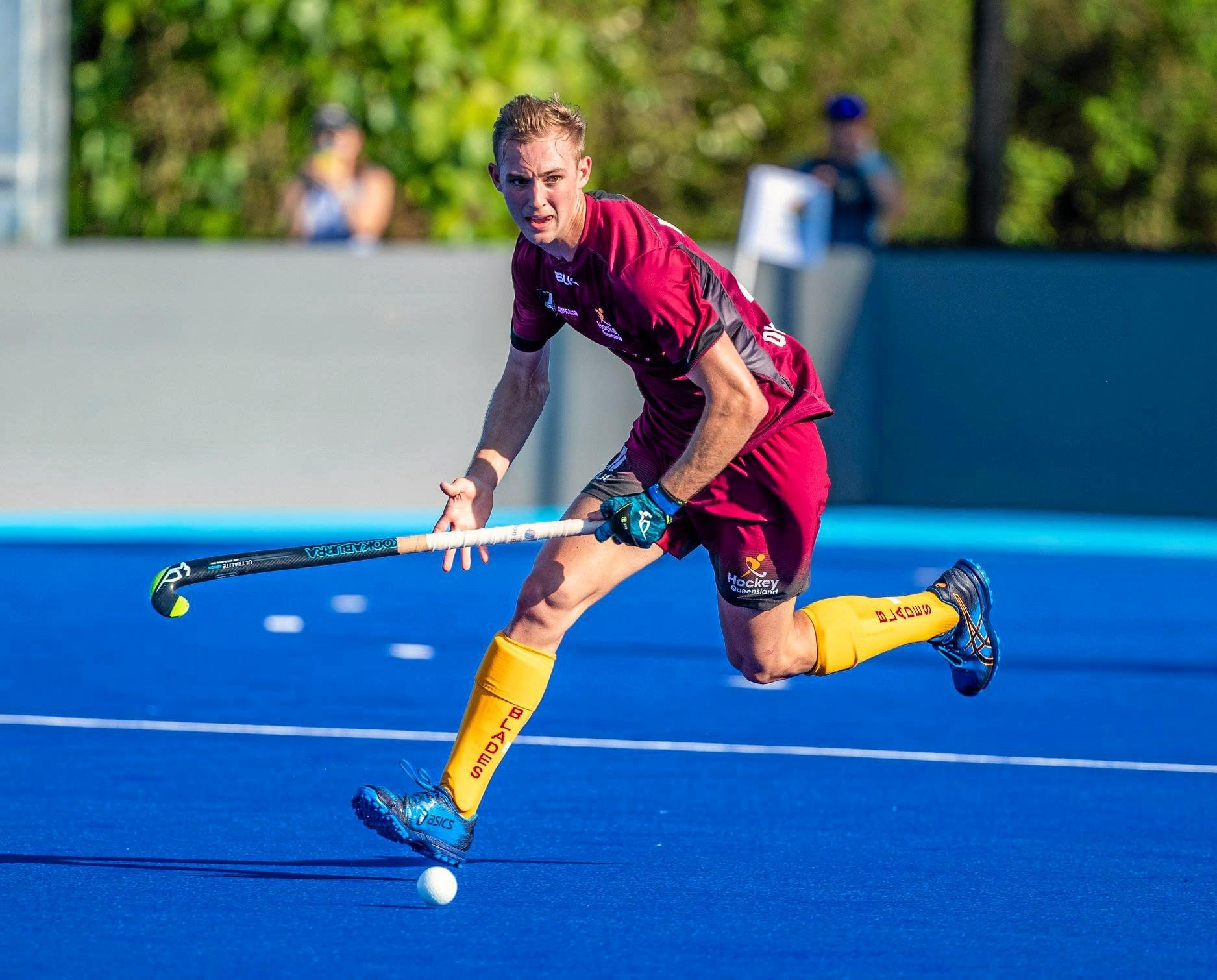 Jacob Anderson with the Queensland Blades at the 2018 Australian Hockey League semi final October 27 verse Tasmania