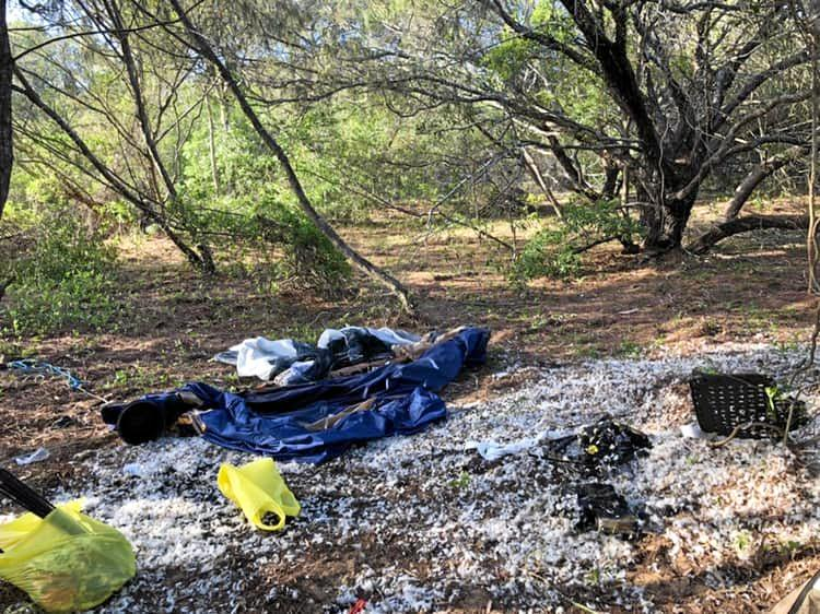SET ABLAZE: Ashaleigh Grace shared these images of their campsite that caught fire on Monday night.