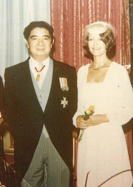 Sir John and Lady Patricia Yocklunn on theie 1981 wedding day at the Savoy Chapel in London