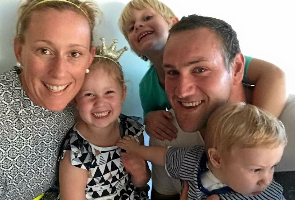 TRAGIC LOSS: Mick Kelso with wife Angie and children Charlie, Ollie and Bodhi.
