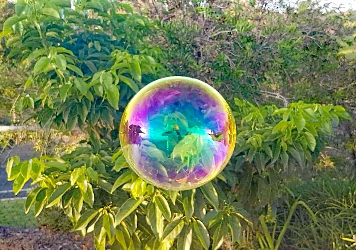 Blowing bubbles.