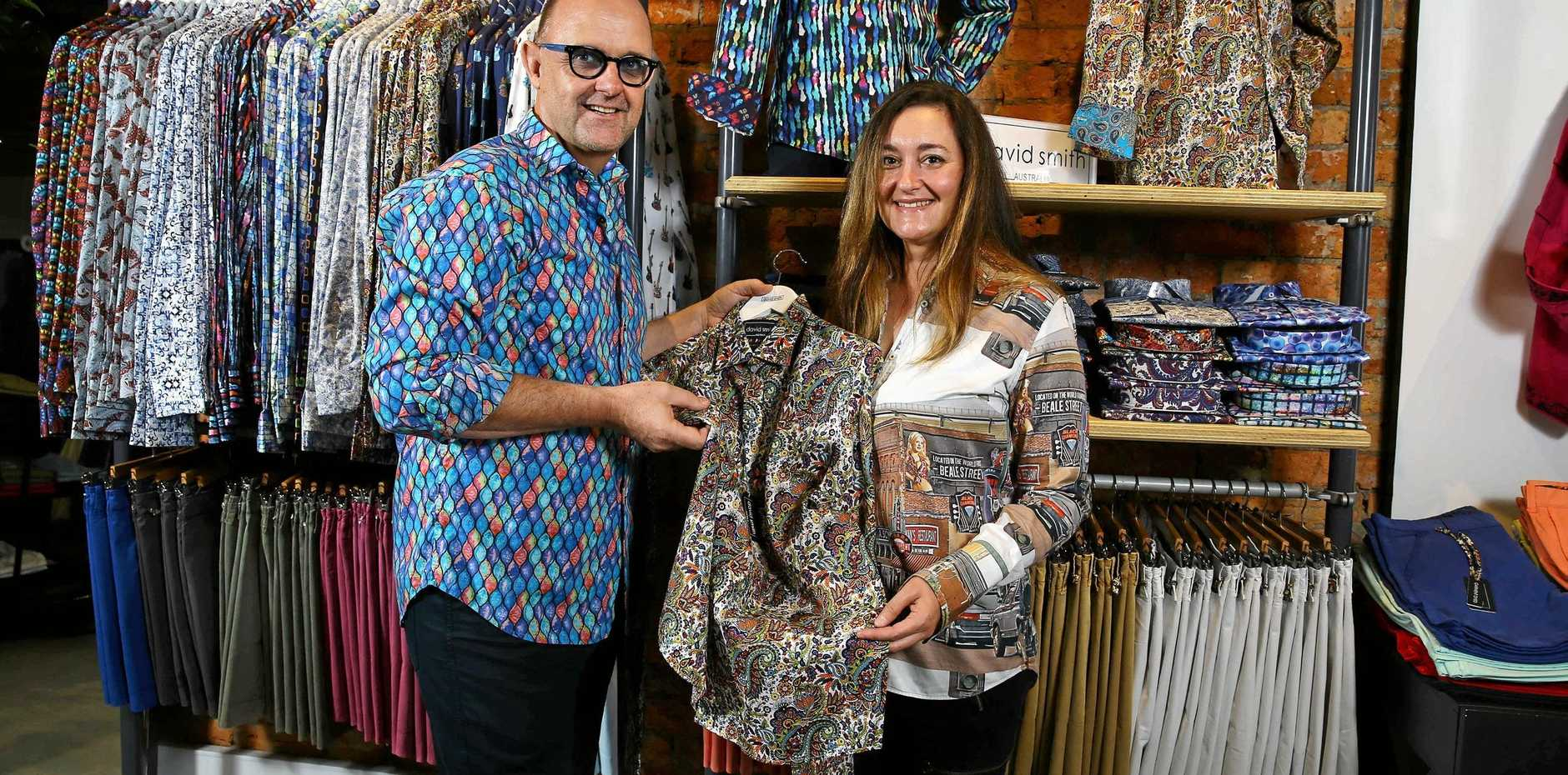 David Smith is a successful Gold Coast-based designer who has built an international business specialising in his trademark bright and colourful shirts, David is pictured with his wife and business partner Taryn Smith.