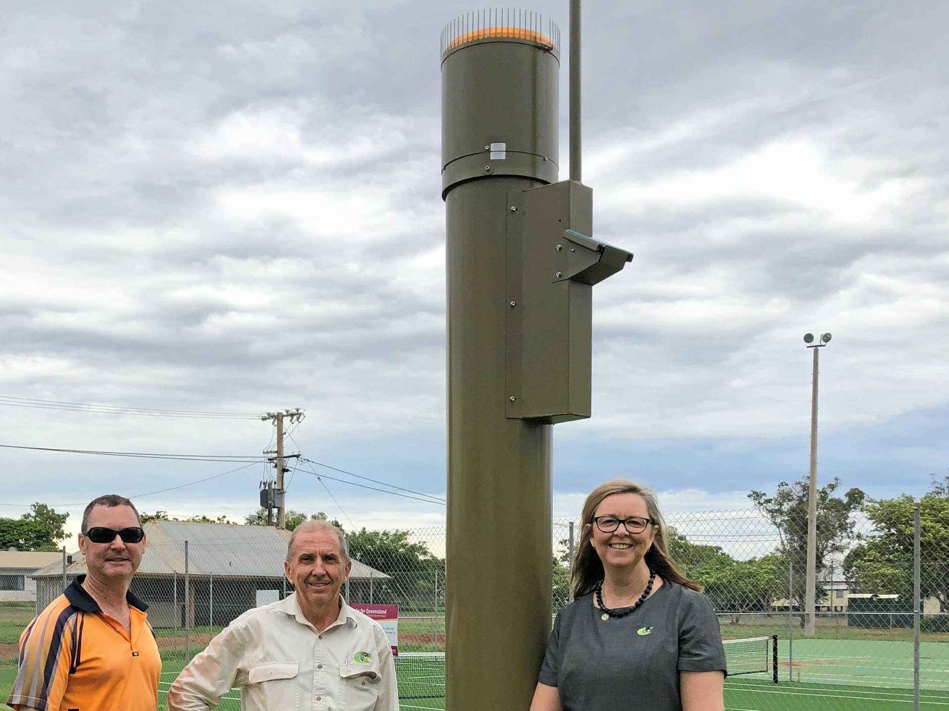 Bureau of Meteorology Field Technician David Woodman, Senior Project Officer Keith Jarrett andDuaringa Area Support Officer Lorrae Brimblecombe at the new Duaringa rain gauge.