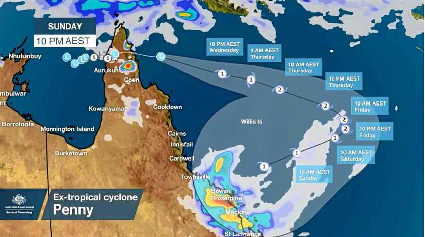 Bureau of Meteorology meteorologist James Thompson said the Bureau predicted Penny would swing back towards the coast before the weekend.