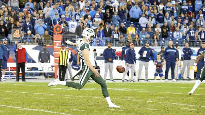 The New York Jets' Lachlan Edwards kicks a punt against the Tennessee Titans last month.  Picture: Frederick Breedon/Getty Images