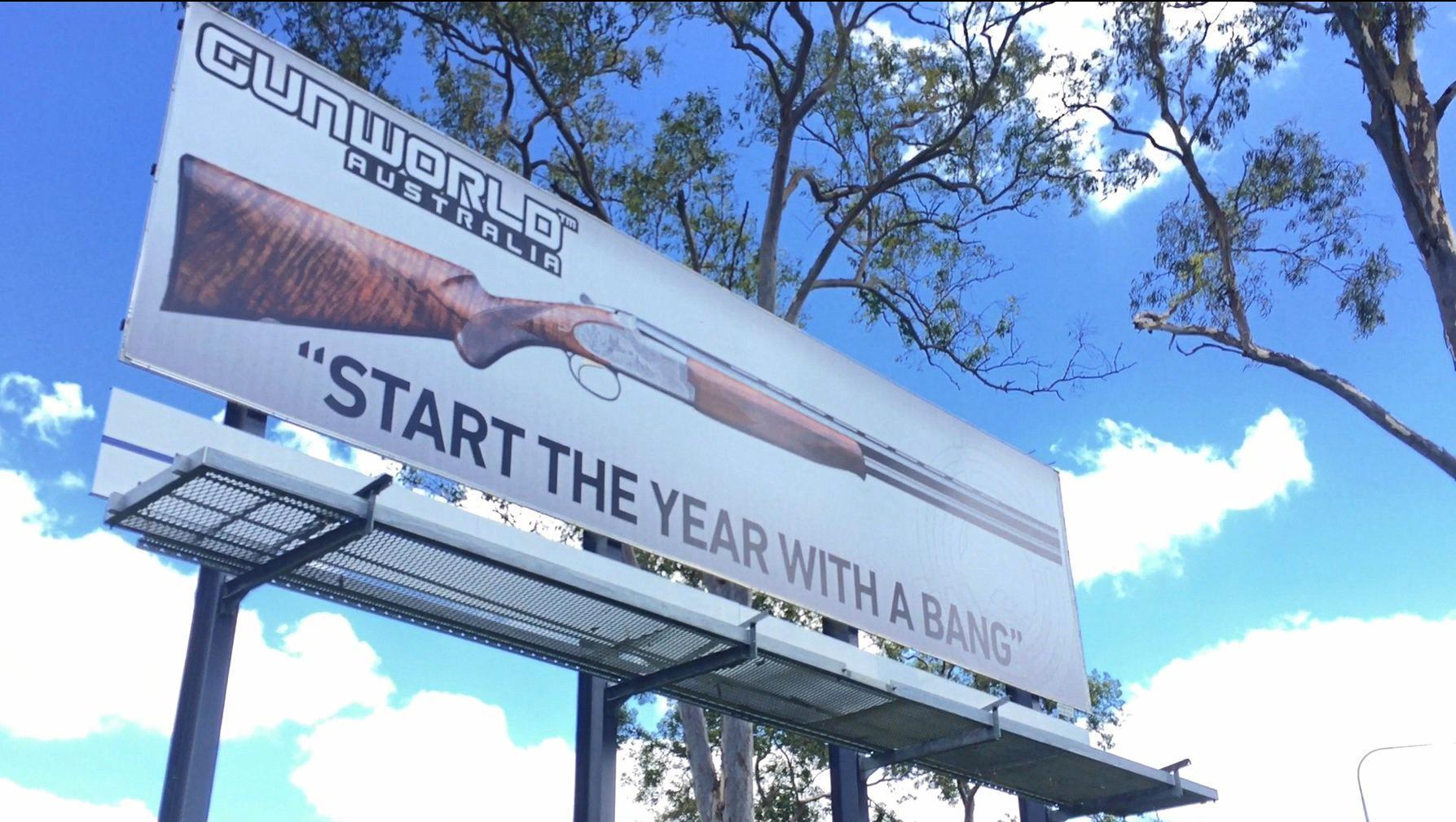 Gun World Australia sign outside Gympie.