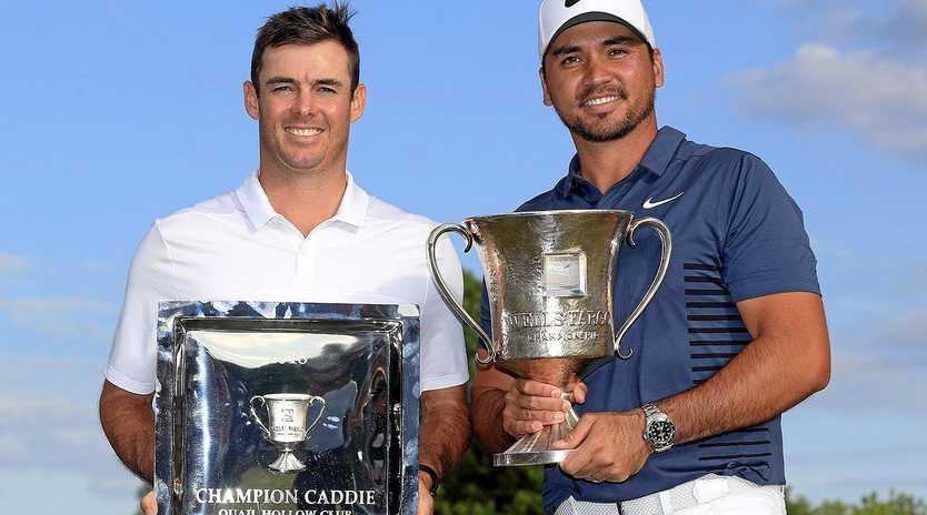 CHAMPIONS: Luke Reardon with Jason Day at the Wells Fargo Championship at Quail Hollow Club, Charlotte, North Carolina.