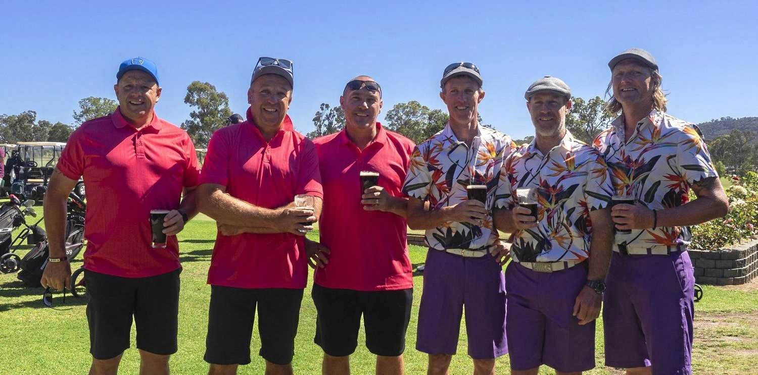YEARLY REUNION: School mates on most days but adversaries on the greens, Stephen Favero, Michael O'Brien and Andrew McLellan with Glen Brunckhorst, Matthew Waterworth and Simon Shannon.