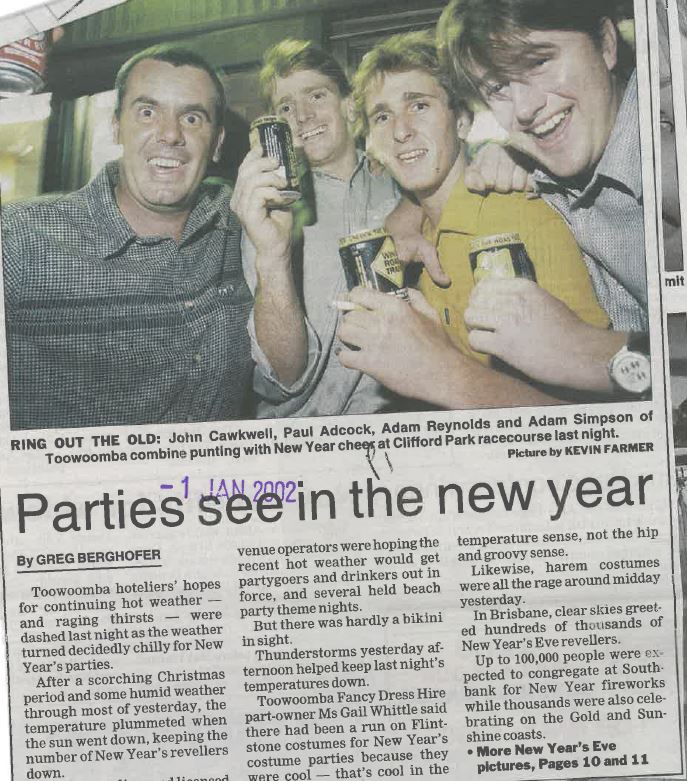 New Year's Eve, 2001 saw a downturn in trade across pubs and hotels as the temperature plummeted.