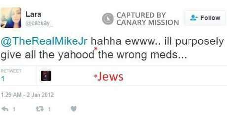 Lara Kollab, an American doctor, tweeted that she intended to deliberately give Jewish people incorrect medication. Picture: Canary Mission