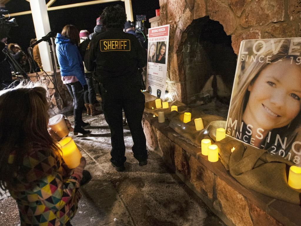 Community members hold a candlelight vigil for Kelsey Berreth in Woodland Park, Colorado on December 13. Picture: Kelsey Brunner/The Gazette via AP
