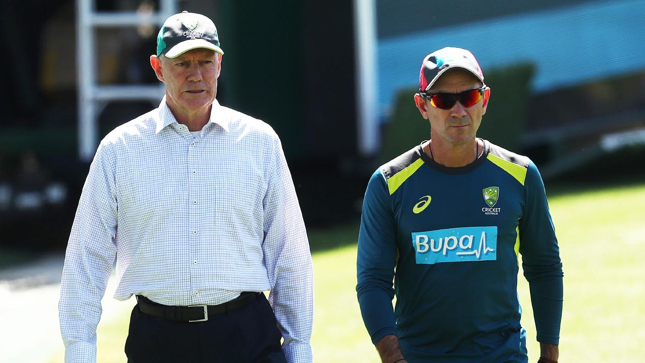 Selector Greg Chappell and coach Justin Langer. Picture: Phil Hillyard