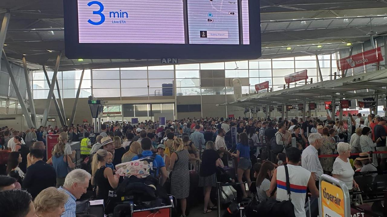 Pictures on social media show overcrowded terminals this morning. Picture: Twitter