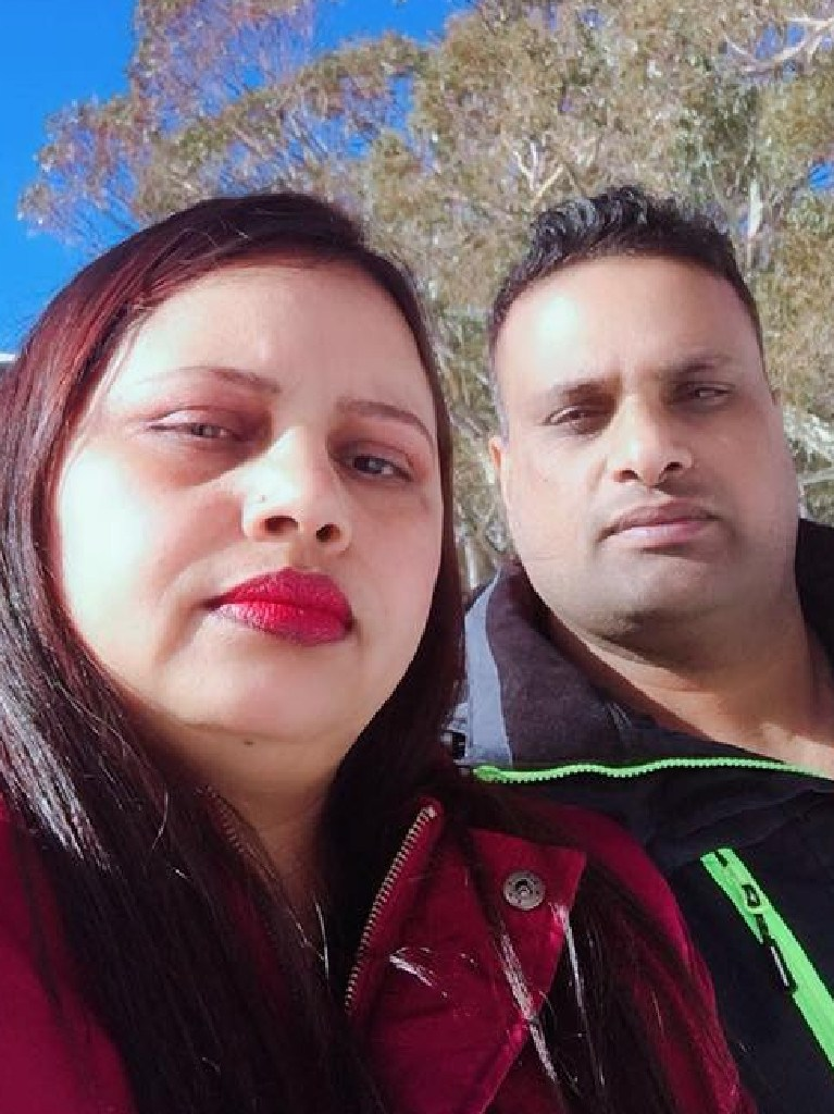 Drowning victim and father Charan Verma with his wife Nishi.