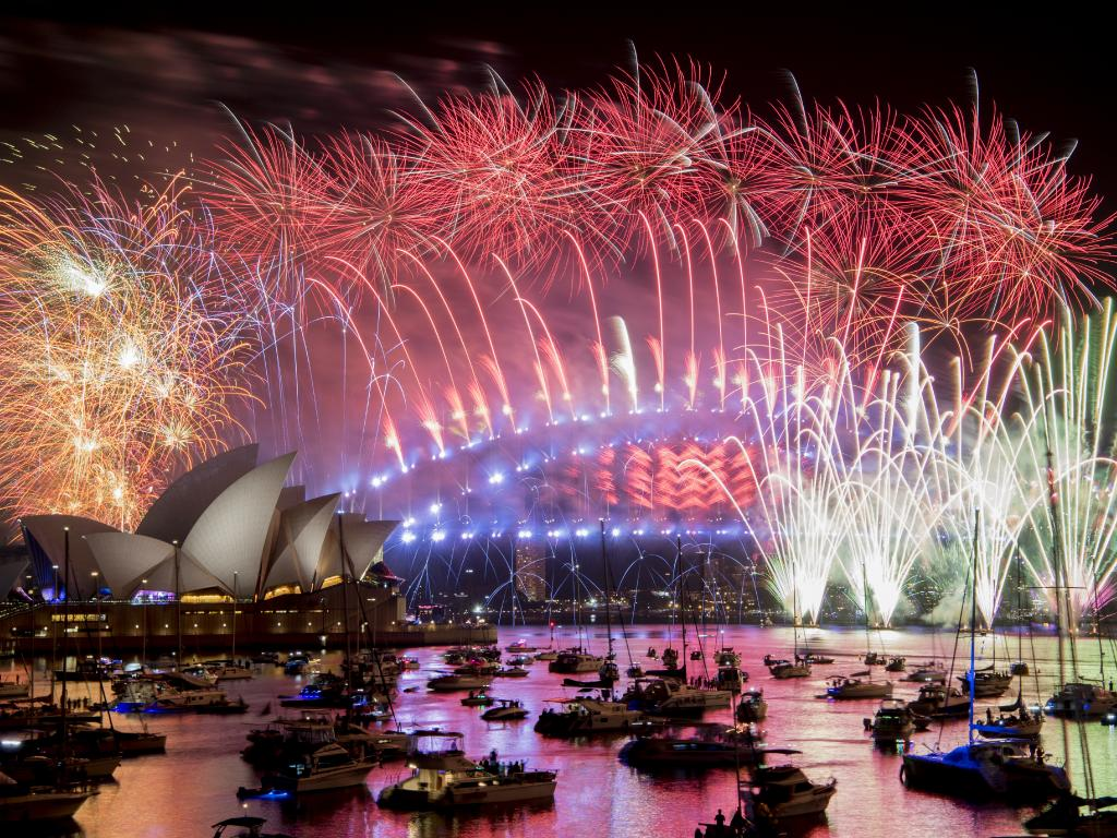 Mr Johnston's friends had to watch the famous Sydney fireworks on the TV in their hotel room. Brendan Esposito/AAP