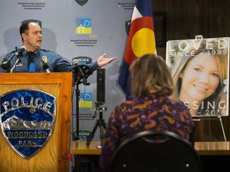Woodland Park Police Chief Miles De Young announces the arrest of Patrick Frazee over the murder of his fiancee Kelsey Berreth. Picture: Christian Murdock/The Gazette via AP