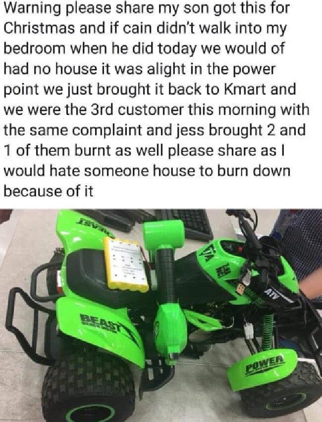 One mum said the malfunctioning toy could have burnt down her house if the fire wasn't noticed. Picture: Kmart Mums