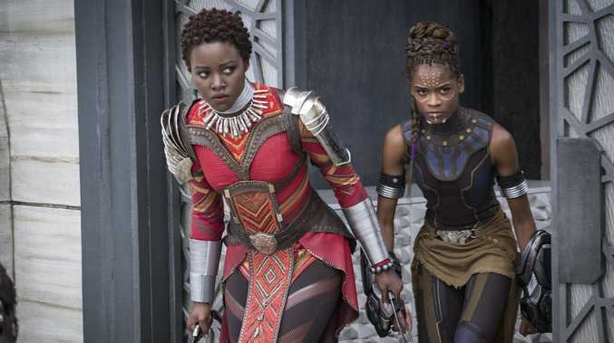 Lupita Nyong'o and Letitia Wright in a scene from Black Panther.