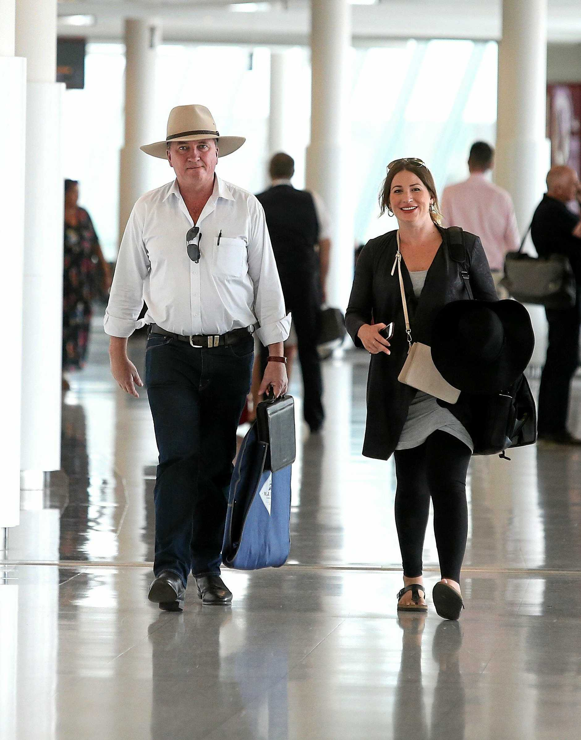 EMBARGOED FOR PRINT - NOT FOR ONLINE TIL MARCH 3, 2018 Former Deputy Prime Minister Barnaby Joyce and his pregnant partner Vikki Campion pictured at Canberra airport. Picture: Kym Smith