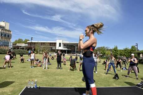 Workout in Civic Square with Emily Skye in town launching Goodlife Health Clubs Toowoomba. November 2018