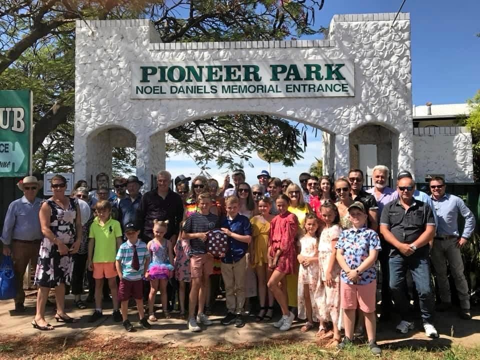 CELEBRATION: The Milne family out in force at the New Year's Eve Races at Emerald's Pioneer Park.