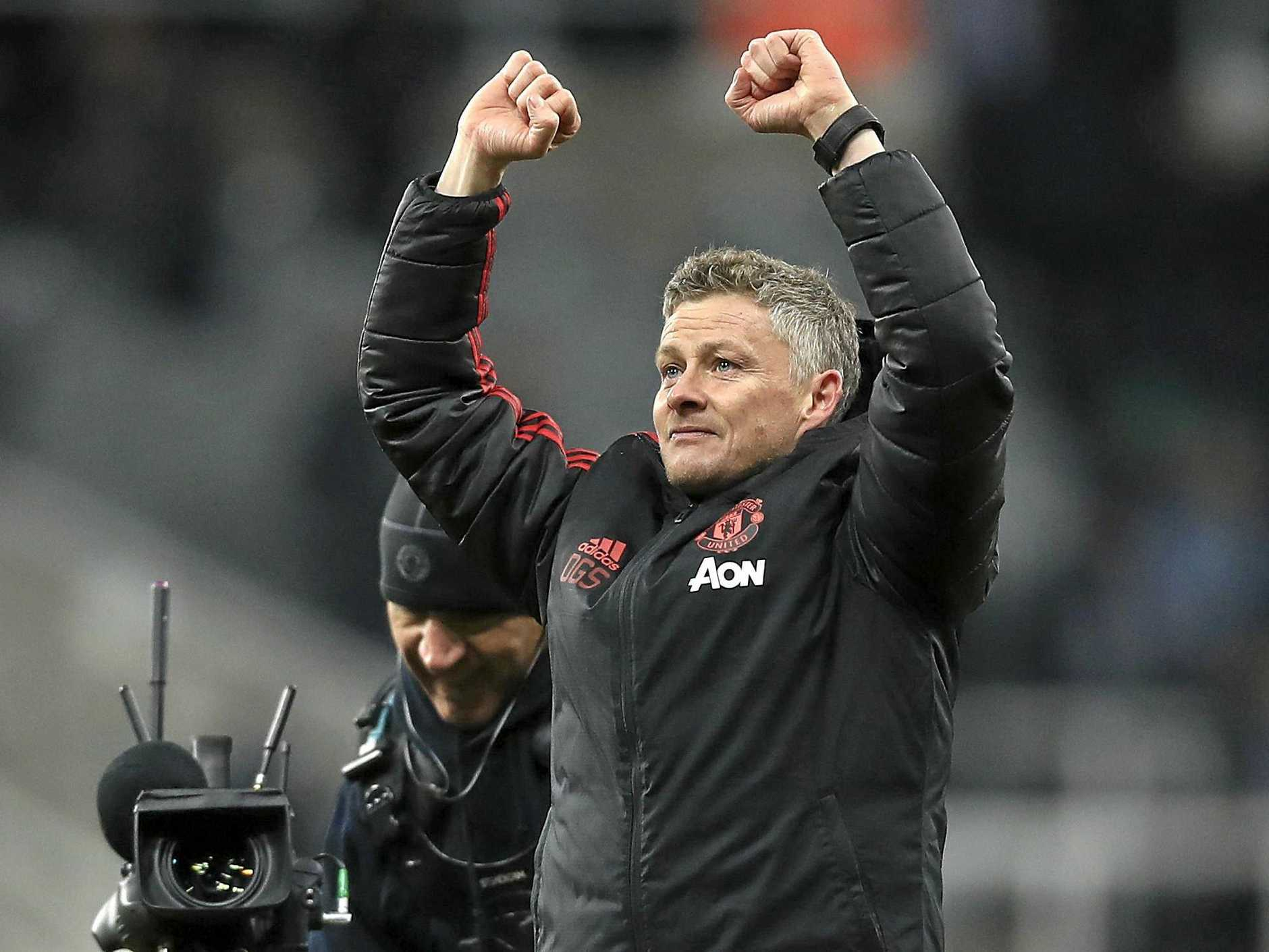 Victorious Manchester United interim manager Ole Gunnar Solskjaer reacts after the final whistle in the clash with Newcastle at St James' Park. Picture: Owen Humphreys/AP