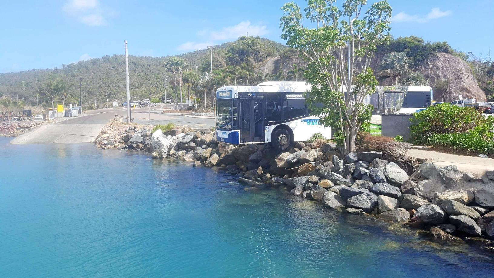 A bus rolled over the road edge at Shute Harbour this morning.