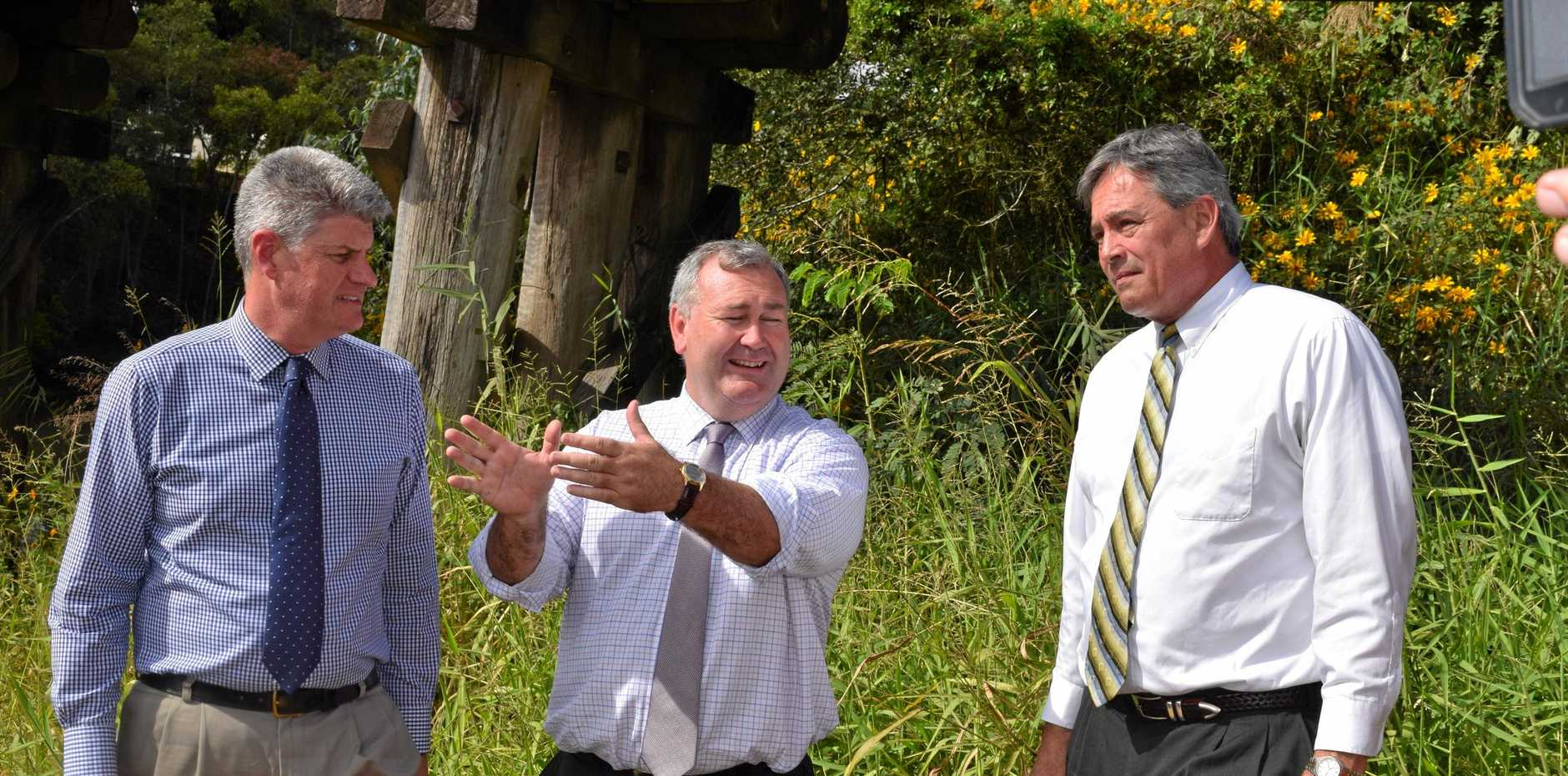 FLOOD PLAN: Local Government Minister Stirling Hinchliffe , Mayor Jack Dempsey and engineer Mark Schmidt at the site of the Bundaberg East Levee.