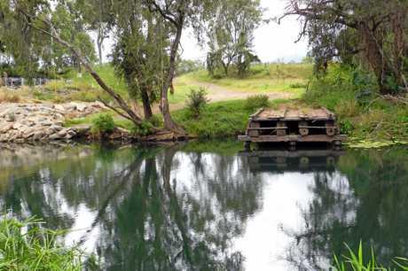 Swimming hole next to the new Norton Rd bridge which crosses the Boyne River near Nagoorin.