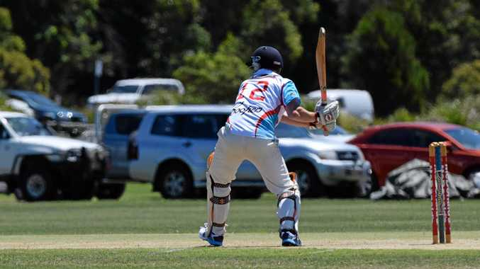 HITTING OUT: Colts player Nick Wood ready to smash the ball through the covers.