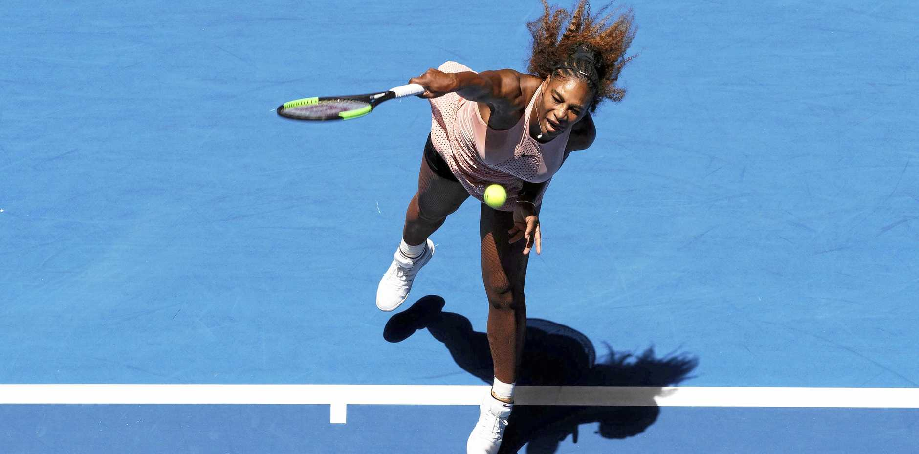 Serena Williams serves during her match against Britain's Katie Boulter at the Hopman Cup in Perth. Picture: Trevor Collens/AP