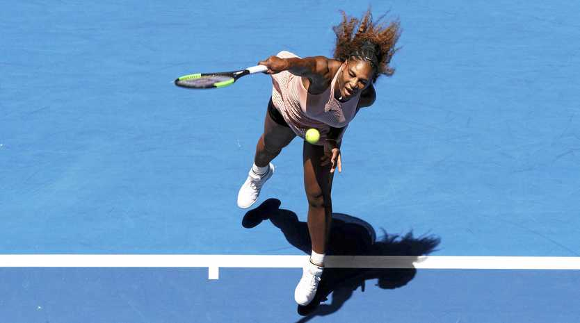 Serena Williams of the United States serves during her match against Britain's Katie Boulter of the Hopman Cup in Perth, Australia, Thursday January 3, 2019.