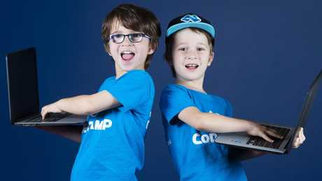 St Peters College, Springfield students Xander and Joshua Kerr at Code Camp. Picture: AAP/Renae Droop