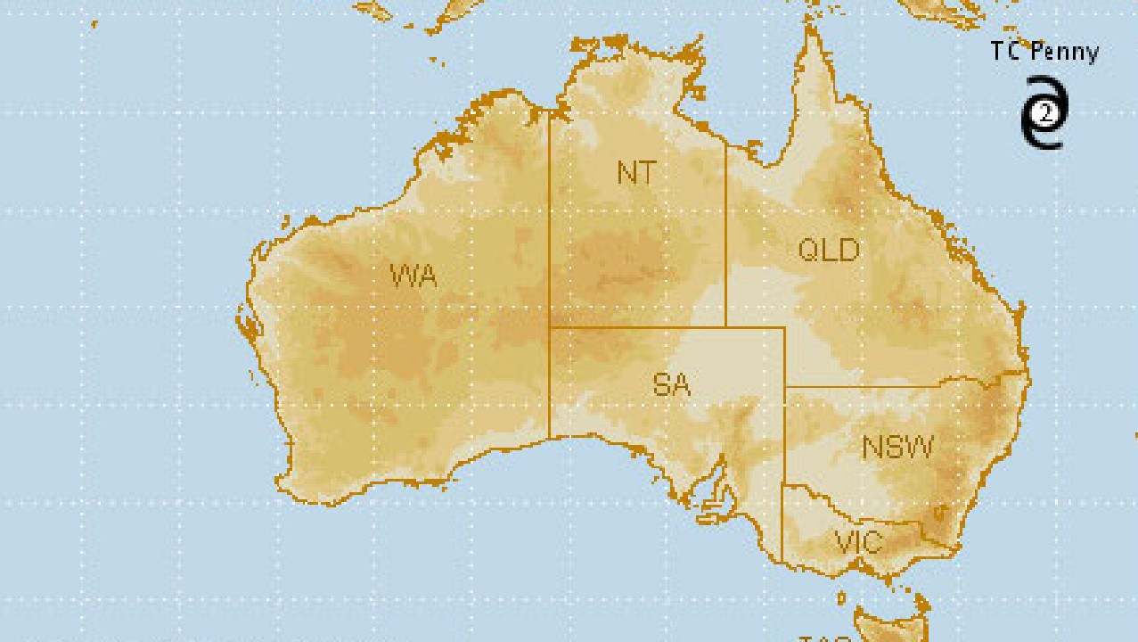 A BOM map showing the position of Cyclone Penny on Thursday night.