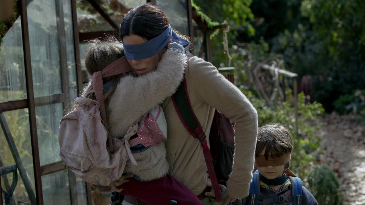 Sandra Bullock stars as a mother getting her children to safety from an apocalyptic monster in new Netflix film, Bird Box. Picture: Supplied/Netflix