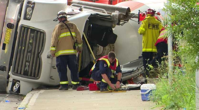 A man, 42, was trapped in the truck wreckage. Picture: TNV